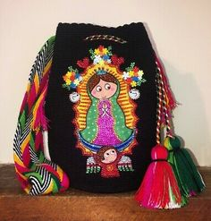 Authentic Wayuu Mochila Colombian Bag Luxury Our Lady Of Guadalupe Cartoon Tapestry Bag, Tapestry Crochet, Our Lady, Blue Bags, Large Bags, Clutch Wallet, Bucket Bag, Boho Fashion, Cartoon