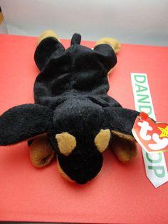 """TY Beanie Babie 1996 Doby Dog Stuffed animal toy Original w/ tags 7.5""""  find me at www.dandeepop.com"""