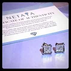 Never worn Netaya earrings Diamonds are a girl's best friend!!! Never worn, comes with metal backs and certificate of authenticity! NOT SURE IF THEY ARE HYPOALLERGENIC OR NOT!!! ✅Sanitation for all earrings before shipment guaranteed✅ Jewelry Earrings