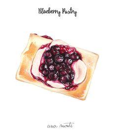 Blueberry Pastry illustration - Ana Monti