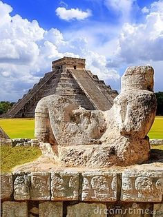 Maya Ancient Chac Mool, Chichen Itza, Tinum, Yucatán, Mexico  A Chac Mool depicts a human figure reclining,head up and turned to one site, holding a tray over the stomach.Meaning of this position remains unknown.