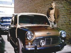 "The ""King of Cool"", actor Steve McQueen was passionate about racing and can boast the most famous car chase in film history with ""Bullitt"". McQueen is pictured here with his 1967 Mini Cooper S Mini Cooper S, Steve Mcqueen Cars, Steven Mcqueen, Classic Mini, Classic Cars, Us Cars, Sport Cars, Mk1, Rat Rods"