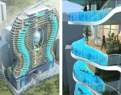Awesome Architecture! Swimming Pool At Each Floor.
