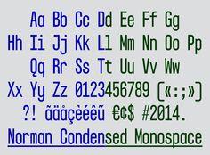 Norman Condensed Monospace<br /> Type design