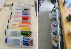cool ideas for class room storage and reusing milk jugs.
