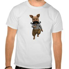 Piglet With Mustache Tee Shirt #funny #moustache #t-shirt