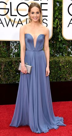 Golden Globes 2016: The Most Intense Cleavage of the Night | People - Joanne Froggatt in a strapless periwinkle Reem Acra dress