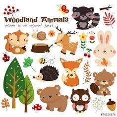 Vektor: Animal woodland vector set