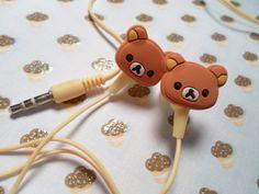 Rilakkuma Earbud Headphones by Lucifurious on Etsy Rilakkuma, Kawaii Accessories, Girls Accessories, Wish List For Teens, Japanese School Supplies, Cute Stud Earrings, Fish Shapes, Kawaii Shop, Airpod Case