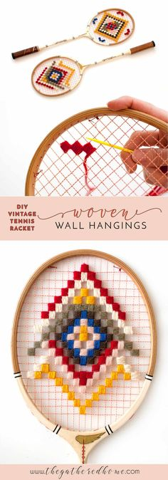 Thrifted vintage tennis rackets meet colorful yarn in this easy craft inspired by the wonderful world of Wes Anderson. Bring some fun vintage flair to your walls!