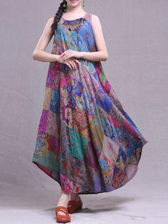 Vintage Women Patchwork Loose Sleeveless Long Maxi Dresses