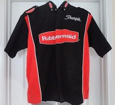 ❗ NEW LISTING 6.00 @SalesForToday  NASCAR RUBBERMAID Team Caliber L Large S/S Button Down Racing Shirt Black/Red