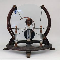GLASS, WOOD AND BRASS STATIC MACHINE, early 19th c...