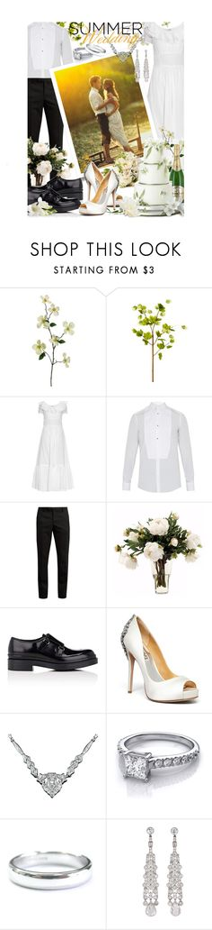 """Say I Do: Summer Weddings"" by mia-christine ❤ liked on Polyvore featuring Yves Saint Laurent, Dolce&Gabbana, Peony, Prada, Perrier-JouÃ«t, Badgley Mischka, Tiffany & Co. and summerwedding"