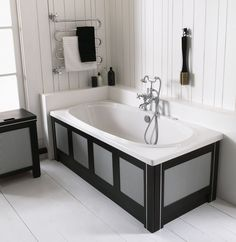 Baths from Opulenza by Tubs and Loos Traditional Furniture, Traditional Bathroom, Bathroom Inspiration, Interior Inspiration, Imperial Bathrooms, Double Ended Bath, Classic Baths, Monochrome Color, Modern Baths