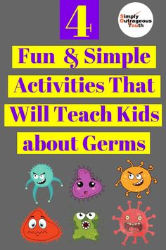 Teach kids about germs with these fun and simple activities. These activities will create a desire in children to do chores and have. Health Activities, Educational Activities, Learning Activities, Preschool Activities, Germs For Kids, Germ Crafts, Teaching Kids, Kids Learning, Hygiene Lessons