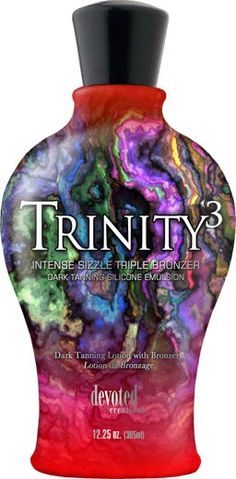 Trinity 3 - Intense Sizzle Triple Bronzer for an extreme golden dark bronze tan! Tingle Tanning Lotion, Indoor Tanning Lotion, Bronze Tan, Sunkissed Skin, Drink Sleeves, Anti Aging, Perfume Bottles, Fragrance, Skin Care