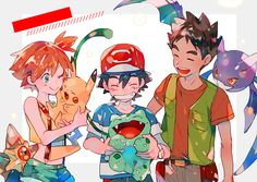 Ash, Misty, and Brock Pokemon Gym Badges, Pokemon Show, Pokemon Alola, Pokemon People, Pokemon Fan Art, Cool Pokemon, Pokemon Stuff, Pikachu, Satoshi Pokemon