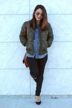 Military Green Bomber Jacket with Black jeans and denim shirt – MODE DELINA