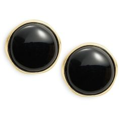 Karen Kane  Button Clip-On Earrings (1.800 RUB) ❤ liked on Polyvore featuring jewelry, earrings, black, black jewelry, kohl jewelry, clip earrings, clip on earrings and polish jewelry