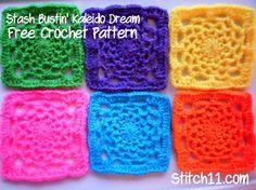 Dream Catcher Crochet Granny Square | AllFreeCrochetAfghanPatterns.com