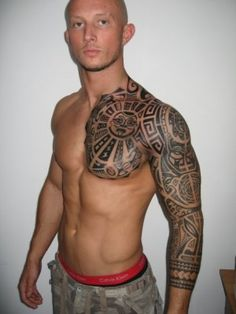 Polynesian Half Sleeve Tattoo: Its not actually my tattoo i was just wandering if anyone could tell me what it means with the sun and the faces etc. Thanks