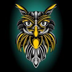 The golden emblem of the holy owl Premium Vector Estilo Tribal, Owl Artwork, Owl Illustration, Retro Arcade, Cool Art Projects, Pinstriping, Tee Design, Mosaic Art, Lion Sculpture
