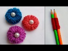 Loom Flowers, Knitted Flowers, Hand Embroidery Flowers, Embroidered Flowers, Yarn Bottles, Woolen Flower, Pencil Crafts, Woolen Craft, Loom Knitting Projects