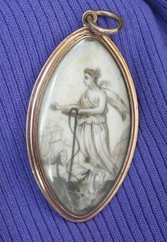 Mourning Jewelry, Memorial Jewelry, Pendant, Sepia on Ivory, Double Sided, Georgian