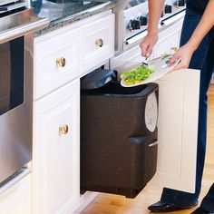 Cultivate your urban (or suburban) garden with ease using the Automatic Composter, a smart device which fits right under your kitchen sink. Old Kitchen, Kitchen Sink, Kitchen Ideas, Home Greenhouse, Green Cleaning, Particle Board, Recycled Wood, Kitchen Remodel, Home Appliances