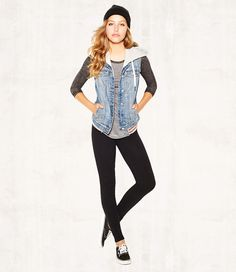 Burnout Baseball Tee, French Terry Denim Vest, French Terry Leggings & Basic Beanie. #backtoschool #OOTD #iweargarage