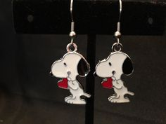 Snoopy with red heart Earrings (Item 309)
