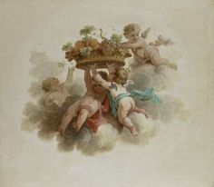 Four Putti Carrying a Fruit Basket, anonymous, c. 1725 - c. 1774 - Rijksmuseum
