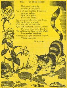 Le chat étourdi (poème de Maurice Carême) French Poems, French Phrases, French Quotes, Read In French, How To Speak French, Learn French, Texte En Prose, Maurice Careme, French Flashcards