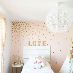Peel and Stick Metallic Gold Polka Dot Wall Decals by inwalllife