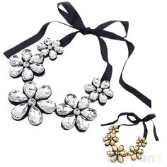 New New Fashion exquisite Flower Ribbon Gem Petals charming Bib collar Necklace jewelry items 1NOZ