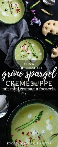 rezept für grüne spargelcremesuppe mit mini rosmarin focaccia ♥ trickytine.com