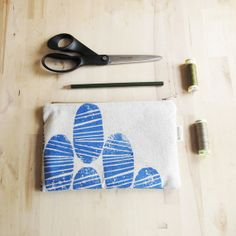 Organic blue motif hand printed fabric zipper pouch by Kotona