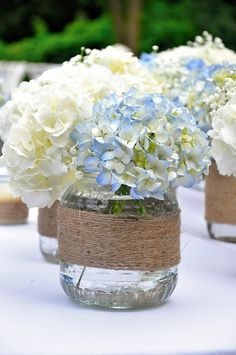 Rustic wedding must read tip 1228907216 - Wonderfully rustic wedding decor. Blue Hydrangea Centerpieces, Rustic Wedding Centerpieces, Wedding Table Centerpieces, Wedding Decorations, Centerpiece Ideas, Centerpiece Flowers, Table Flowers, Wedding Rustic, Simple Elegant Centerpieces