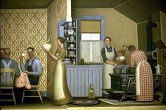 Grant Wood – 1934 Dinner for Threshers detail Grant Wood, Modern Prints, Modern Art, Social Realism, Art Fund, Whitney Museum, Old Master, Kitchen Art, Public Art
