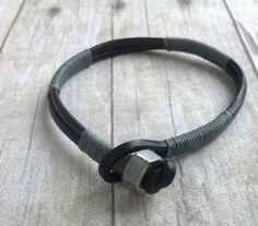 Mens Leather Bracelet, Mens Jewelry, Guys Bracelet, Gray and Black, Gift for…