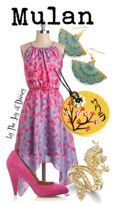 Buy Mulan's look: Dress, $124.99 ; Shoes, $22.80 ; Dragon ring, $55 ; Necklace, $35 ; Earrings, $15.80Outfit inspired by Mulan!