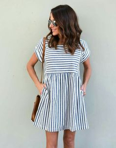 Love the different directions of the stripes in this dress!