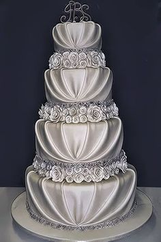 Beautiful Silver Wedding Cake
