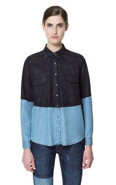 Image 1 of TWO-TONE DENIM SHIRT from Zara