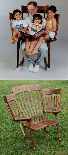 Story Time Rocking Chair - A 3-seat rocking chair built by a dad who wanted to read with his three kids. So sweet! #diyinspiration