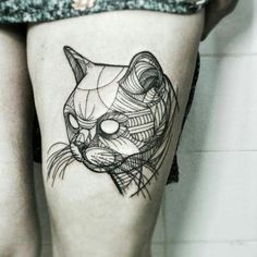 Best Geometric Cat Tattoo Idea