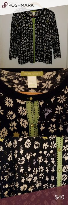Like new Sigrid Olsen cardigan size L Beautiful black cardigan with splashes of color. Jeweled buttons. 3/4 sleeve. 55%silk Sigrid Olsen Sweaters Cardigans