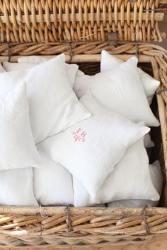 Vintage French Linen Red Monogrammed Lavender Pillows and more lavendar and french antiques.  its a beautiful web site.