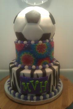soccer cake for birthday girl